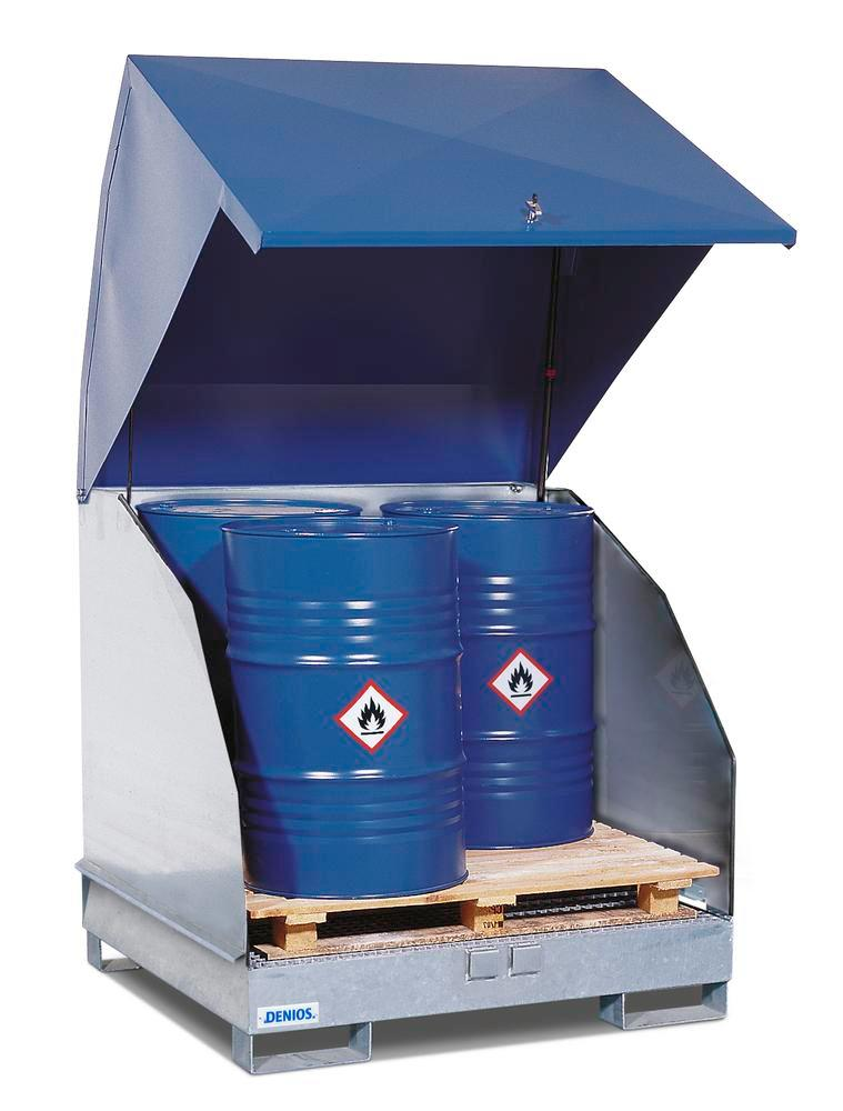 Galvanized HazMat station, 4 GST-KS, galv., for 4 drums each holding 205 ltr, naturally ventilated
