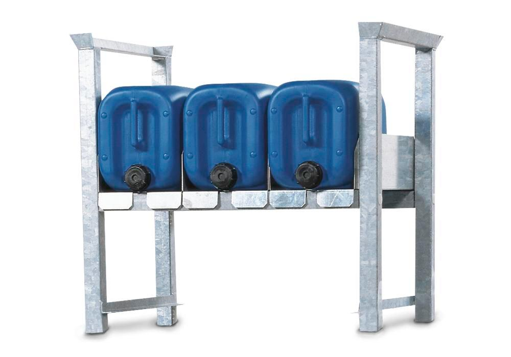 Stacking rack ARK 1 in steel, galvanised, for 3 x 20 or 2 x 60 litre canisters, with guide rails