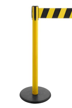 Tape barrier systems Traffico, Model 2.9, yellow posts, belt black/yellow, can be extended to 3.80-w280px