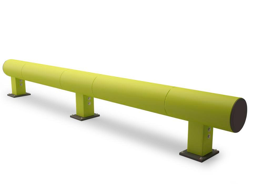 Castra impact protection in plastic, for walkways, colour lime, with one board, length 190 cm - 1
