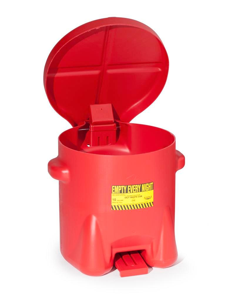 Disposal Container, polyethylene, with self-closing lid, 38 litre capacity, red