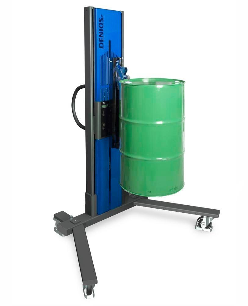 Drum lifter Secu Drive, drum gripper 60 to 205 l steel drums, v-shaped chassis, lift height 0-1405mm