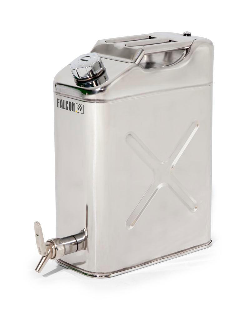 FALCON safety canister in stainless steel, with dispensing tap, 20 litres