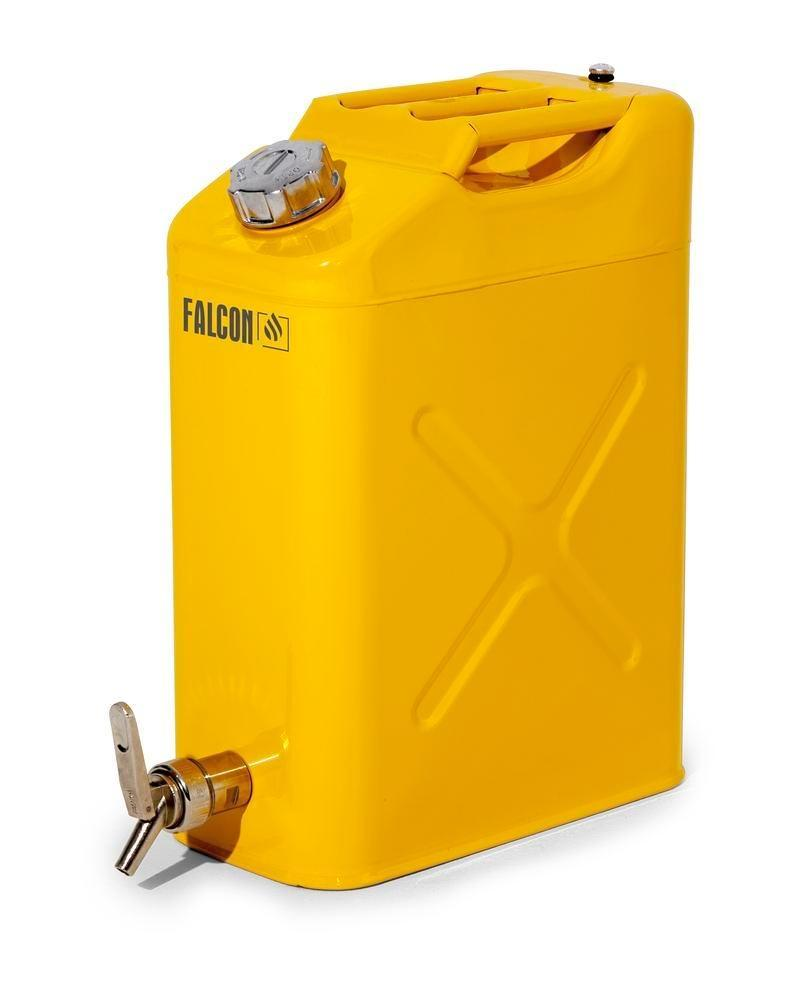 FALCON safety canister in steel, painted, with fine measuring tap, 20 litres