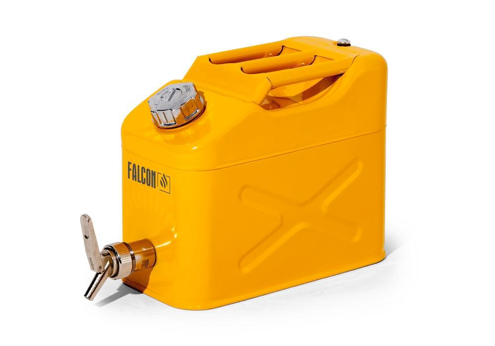 FALCON safety canister in steel, with dispensing tap, yellow, 10 litres