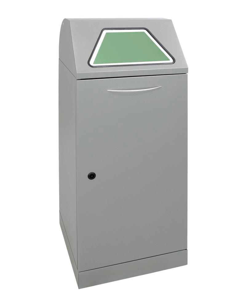 Fire-inhibiting recyclable material container, hand operated, galv. inner cont. 75 litre, grey-alu