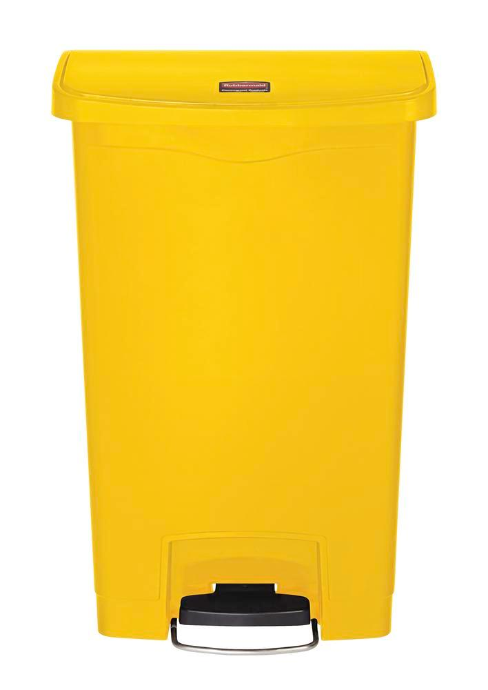 Recyclable material container in polyethylene (PE), foot pedal on wide side, 50 litre vol, yellow