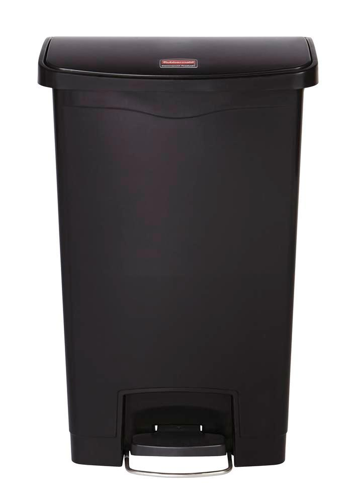 Recyclable material container in polyethylene (PE), foot pedal on wide side, 50 litre volume, black