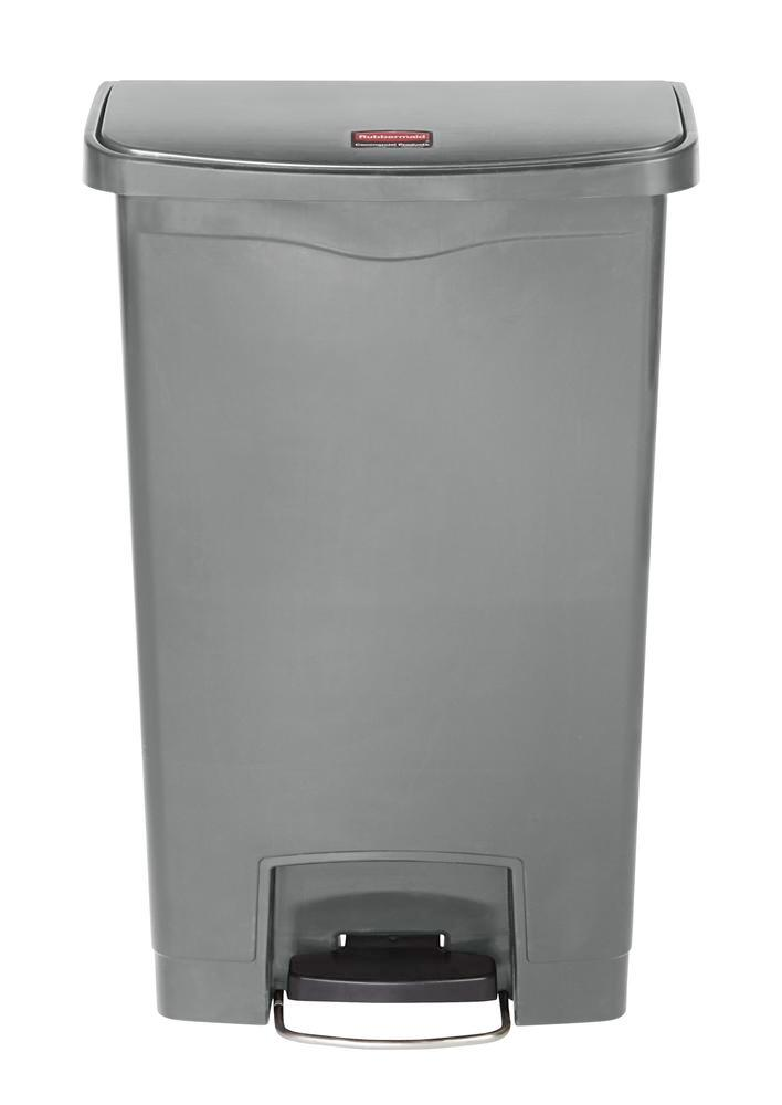 Recyclable material container in polyethylene (PE), foot pedal on wide side, 50 litre volume, grey