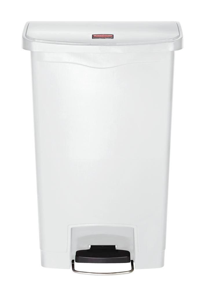 Recyclable material container in polyethylene (PE), foot pedal on wide side, 50 litre volume, white