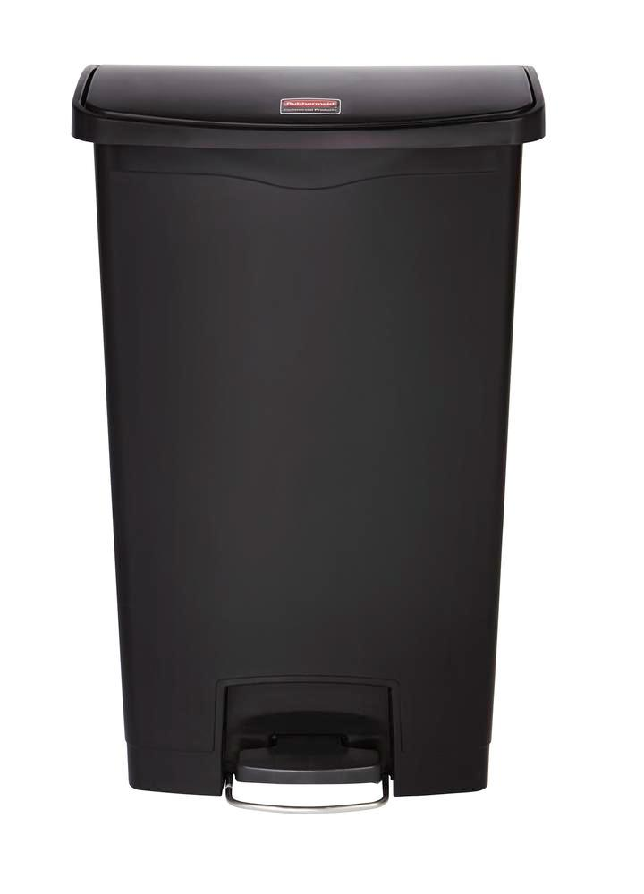 Recyclable material container in polyethylene (PE), foot pedal on wide side, 68 litre volume, black