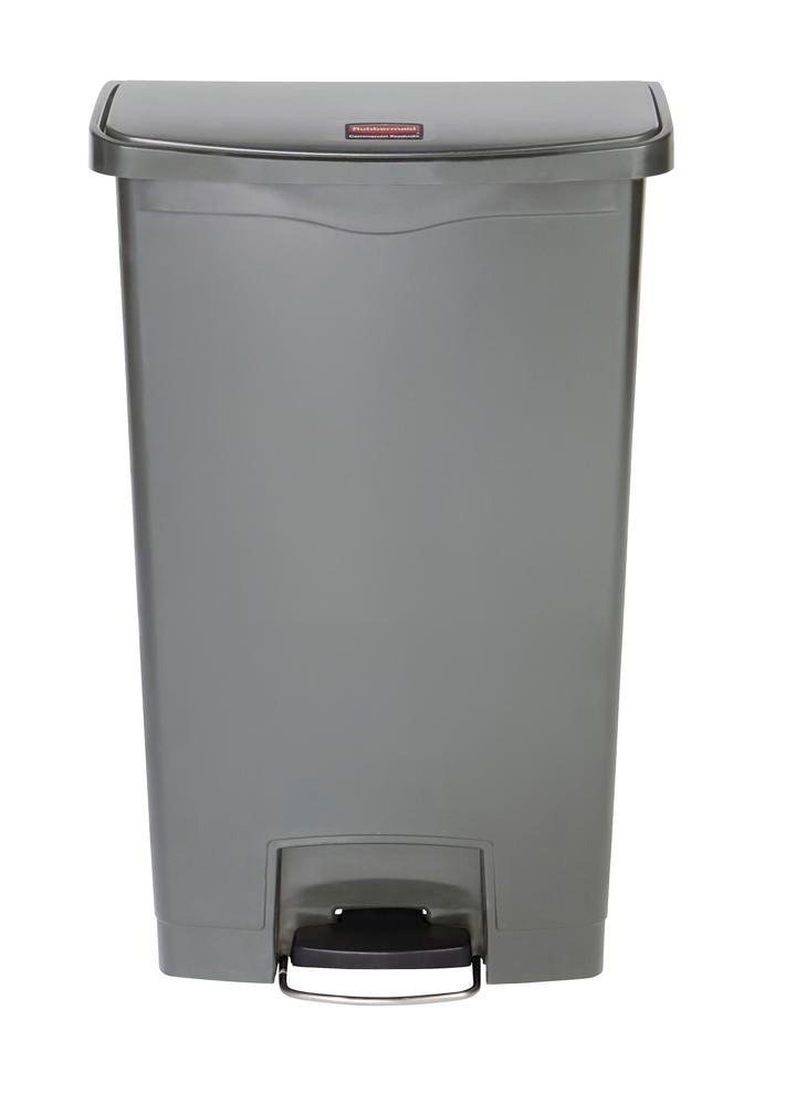 Recyclable material container in polyethylene (PE), foot pedal on wide side, 68 litre volume, grey