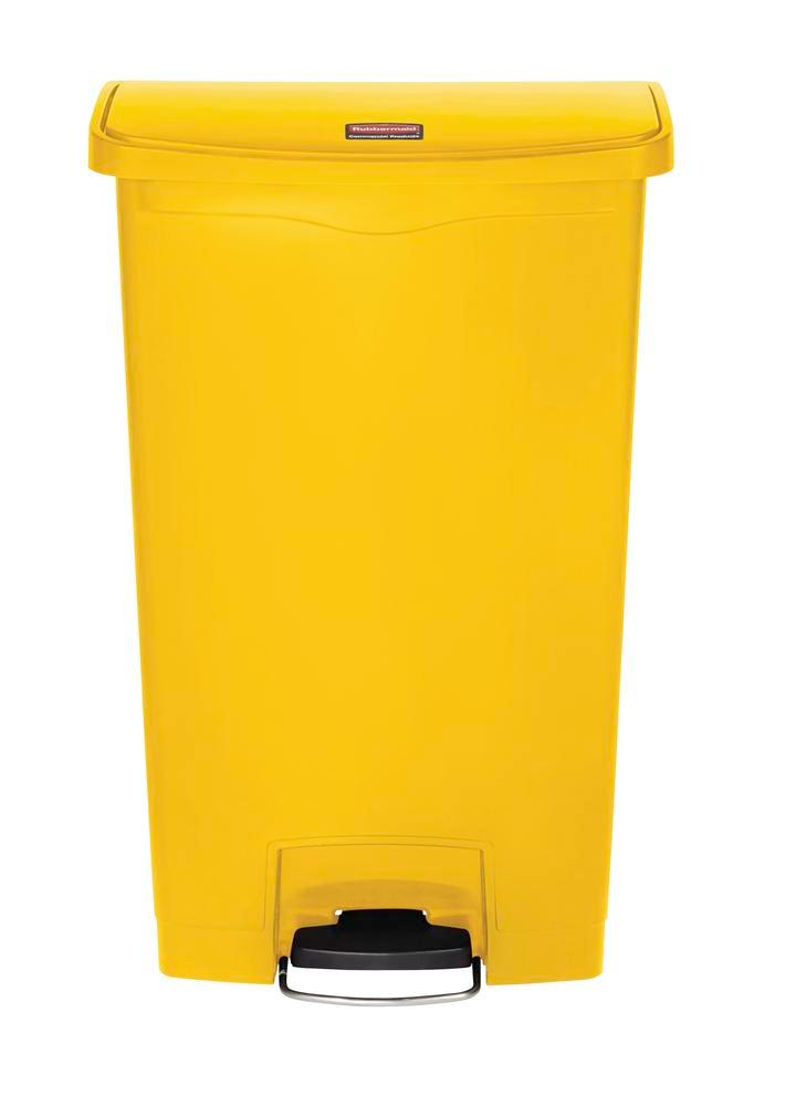 Recyclable material container in polyethylene (PE), foot pedal on wide side, 68 litre volume, yell.