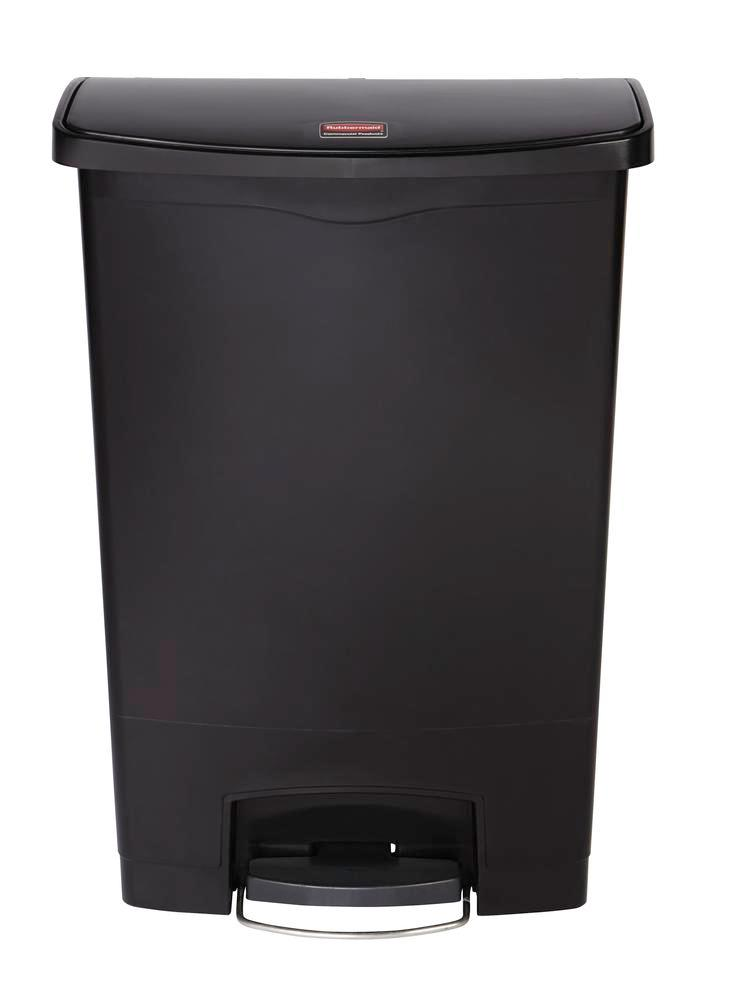 Recyclable material container in polyethylene (PE), foot pedal on wide side, 90 litre volume, black