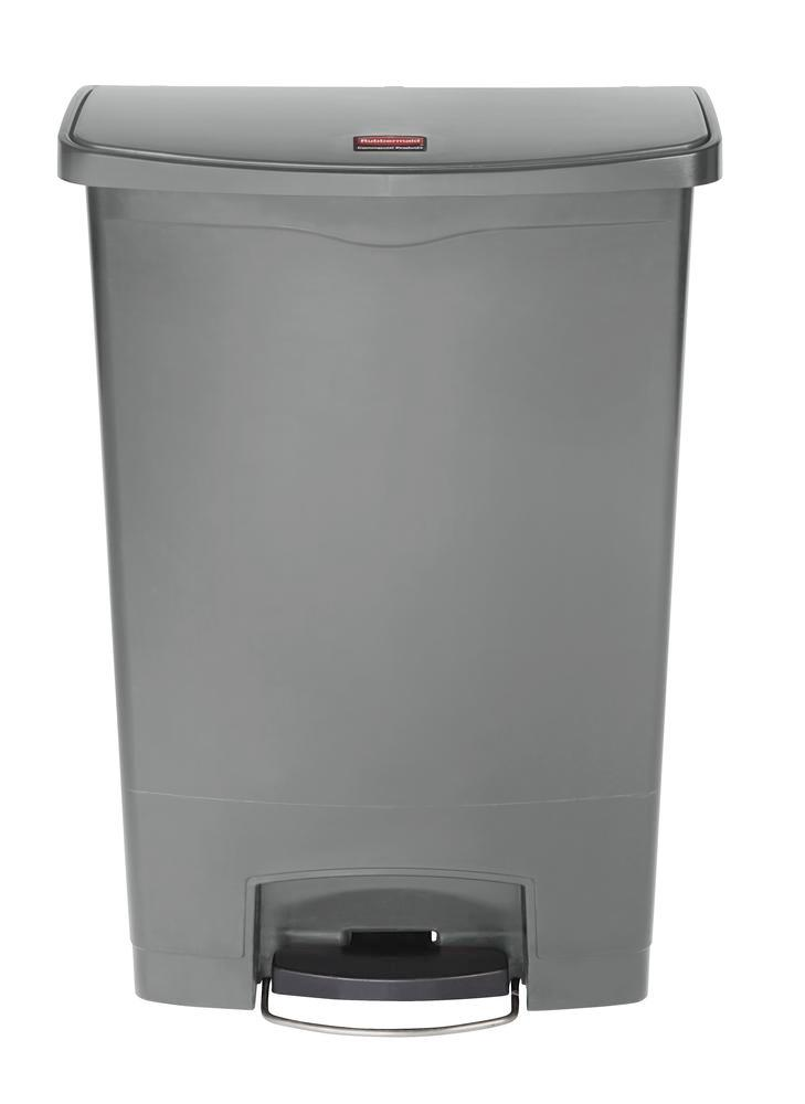 Recyclable material container in polyethylene (PE), foot pedal on wide side, 90 litre volume, grey