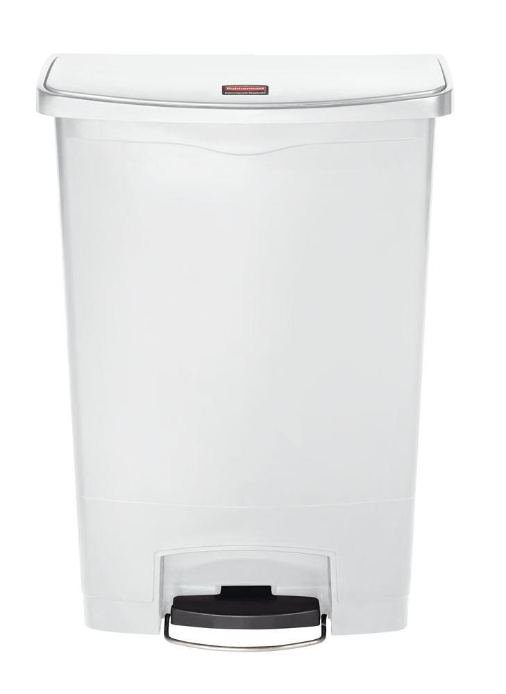 Recyclable material container in polyethylene (PE), foot pedal on wide side, 90 litre volume, white