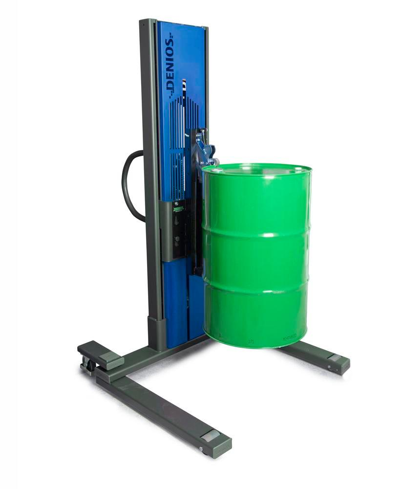 Secu drive drum lifter, wide wheelbase, H 2135 mm, model M for 60l/205l steel drums, electric lift - 1