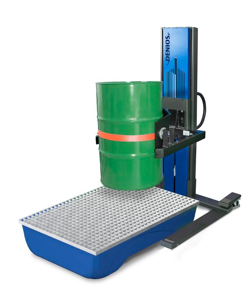 Secu drive drum lifter, wide wheelbase, H 2135 mm, model W, for 60 to 220 litre drums, electric lift - 2
