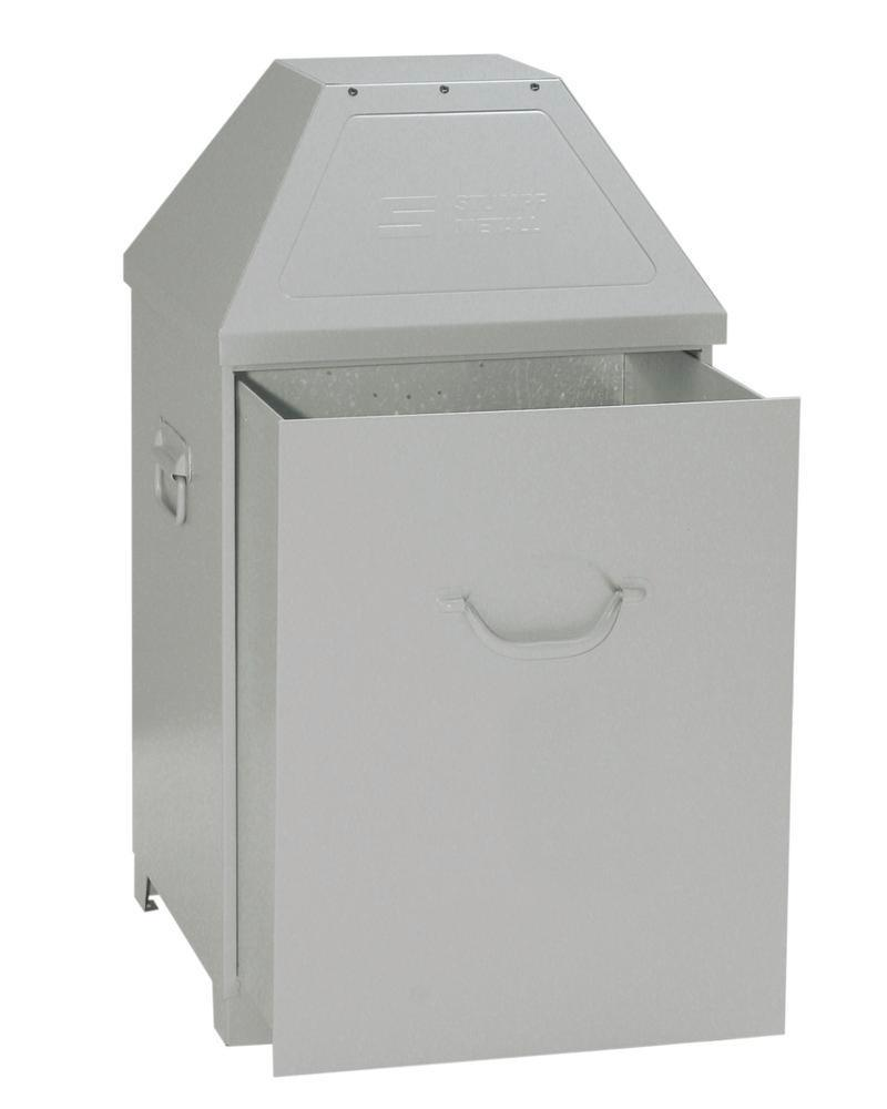 Waste container AB 100-V, sheet steel, self-closing flap, 95 litre capacity, light silver