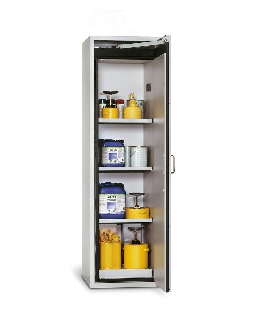 asecos fire-rated hazardous materials cabinet G-601, with 3 shelves, door hinged right, grey