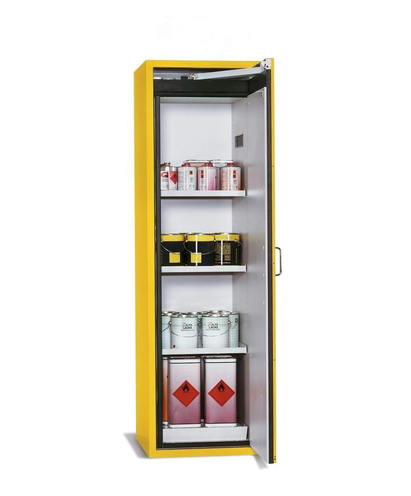 asecos fire-rated hazardous materials cabinet G-601, with 3 shelves, door hinged right, yellow