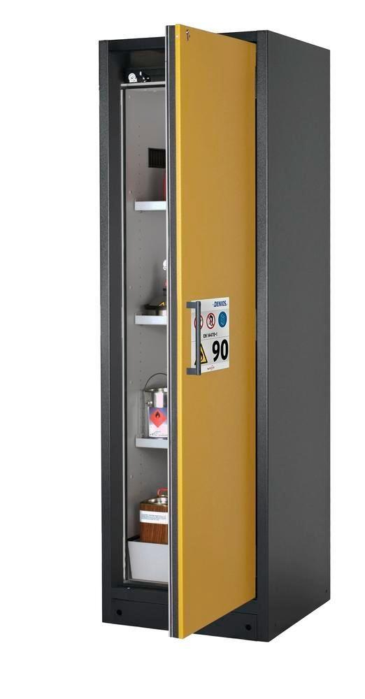 asecos fire-rated hazardous materials cabinet Select W-63R, 3 shelves, door yellow (right)