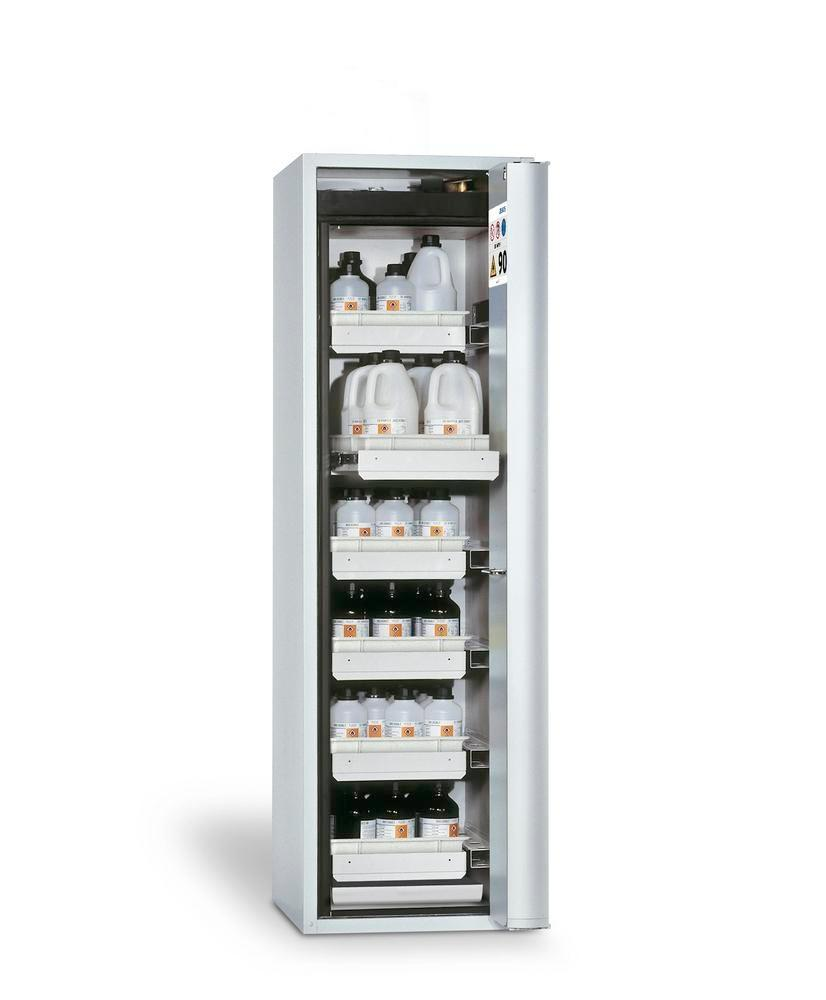 asecos fire-rated hazmat cabinet, 6 slide-out spill trays, door hinged right, grey, depth 749 mm