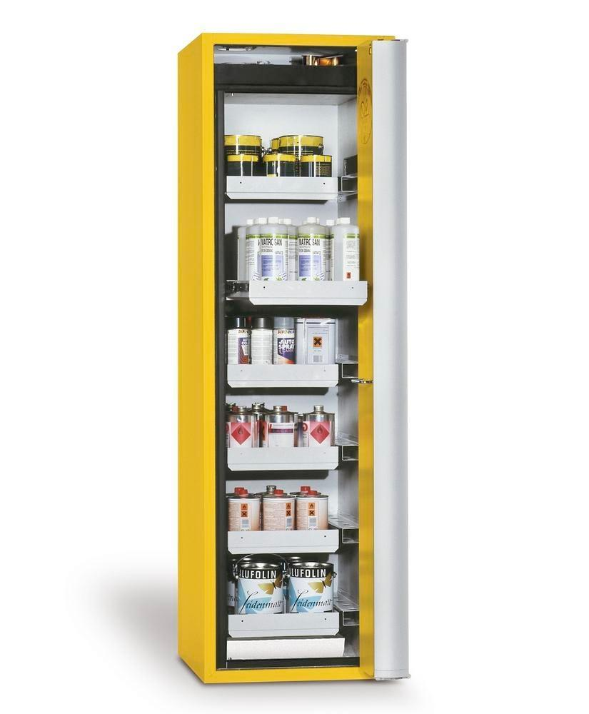 asecos fire-rated hazmat cabinet, 6 slide-out spill trays, door hinged right, yellow, depth 749 mm
