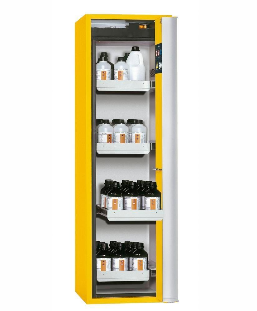 """asecos fire-rated hazmat cabinet """"one touch"""", 4 slide-out spill trays, door hinged right, yellow"""