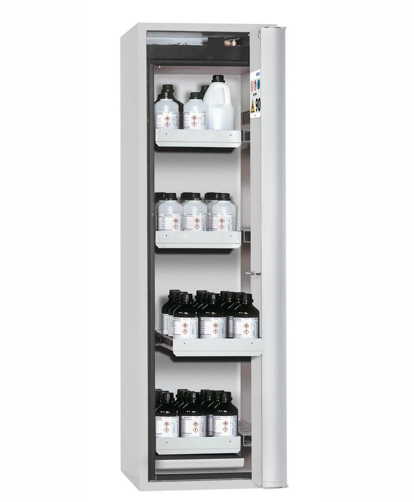 "Fire-rated HazMat cabinet GF-601,4""one touch"", 4 slide-out spill trays, door opens right, grey - 1"