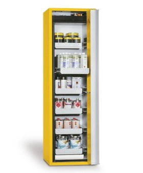 "Fire-rated HazMat cabinet GF-601,6""one touch"", 6 slide-out spill trays, door opens right yellow-w280px"