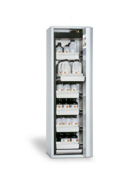 "Fire-rated hazmat cabinet GF-750.6, ""one touch"", 6 slide-out spill pallets, door opens right, grey-w280px"