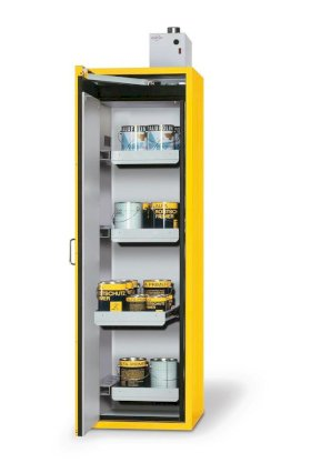 "Fire-rated hazmat cabinet GT 600-6 ""touch-less"", 6 slide-out spill pallets, door opens left, yellow-w280px"