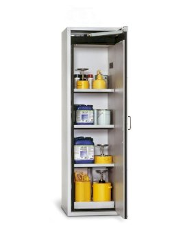 Fire Resistant Safety Cabinet G-601, grey, right hinged door, 3 shelves, insert & spill tray-w280px