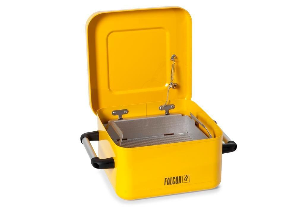 FALCON small parts cleaner in steel, painted, with parts basket, 8 litres - 1