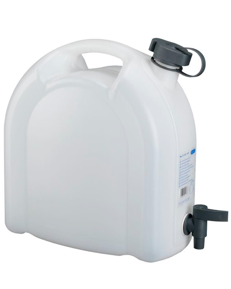 Canister in plastic, transparent, with tap, 10 litres