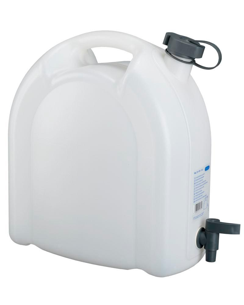 Canister in plastic, transparent, with tap, 15 litres