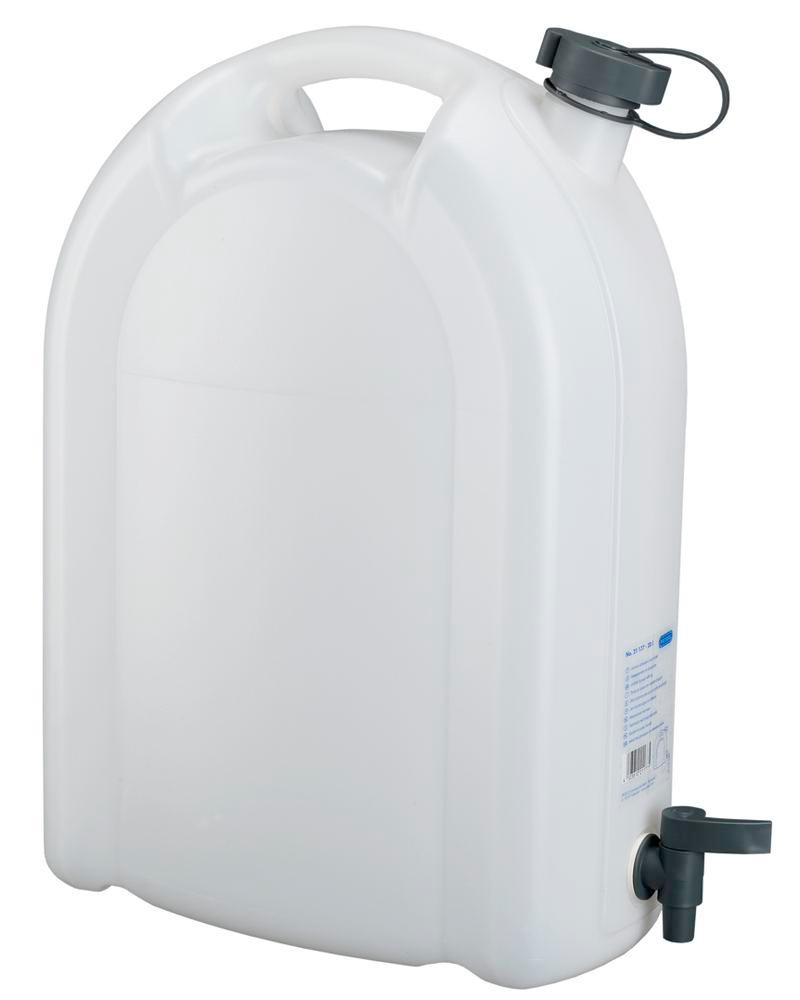 Canister in plastic, transparent, with tap, 20 litres - 1
