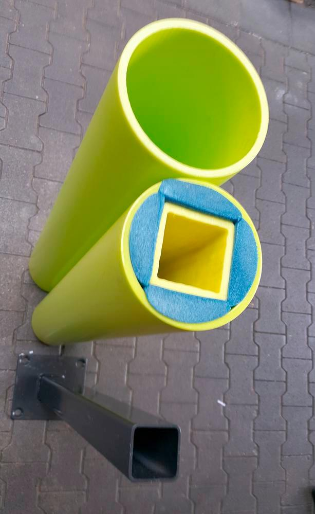 Castra impact protection bollard in plastic, colour lime - height 1200 mm
