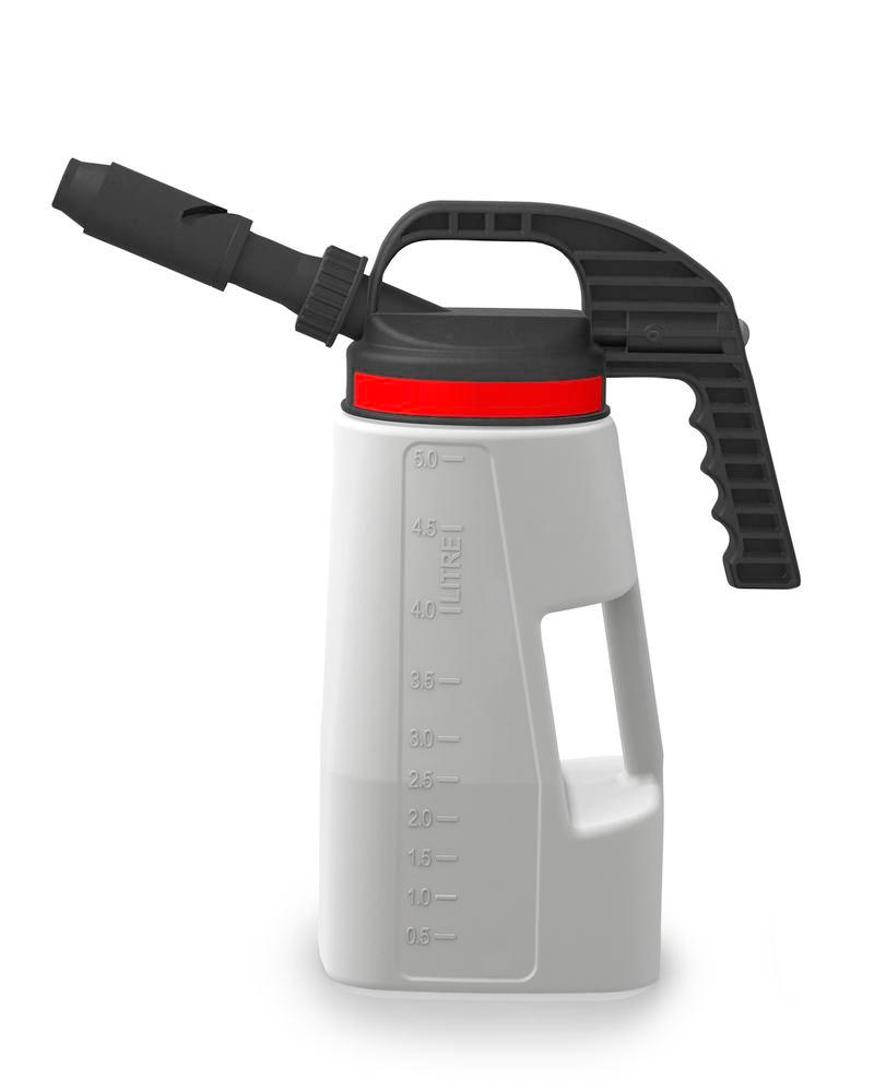 FALCON Lubriflex dispensing jug with interchangeable spout, 5 litres
