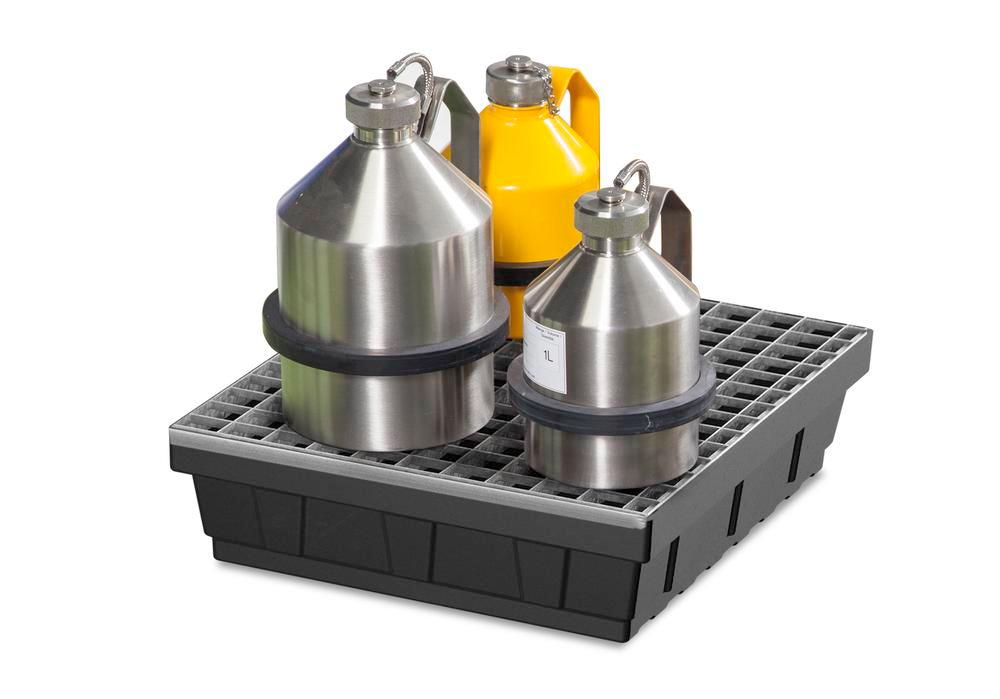 Spill tray for small containers base-line in polyethylene (PE) with galvanised grid, 15 litres - 1