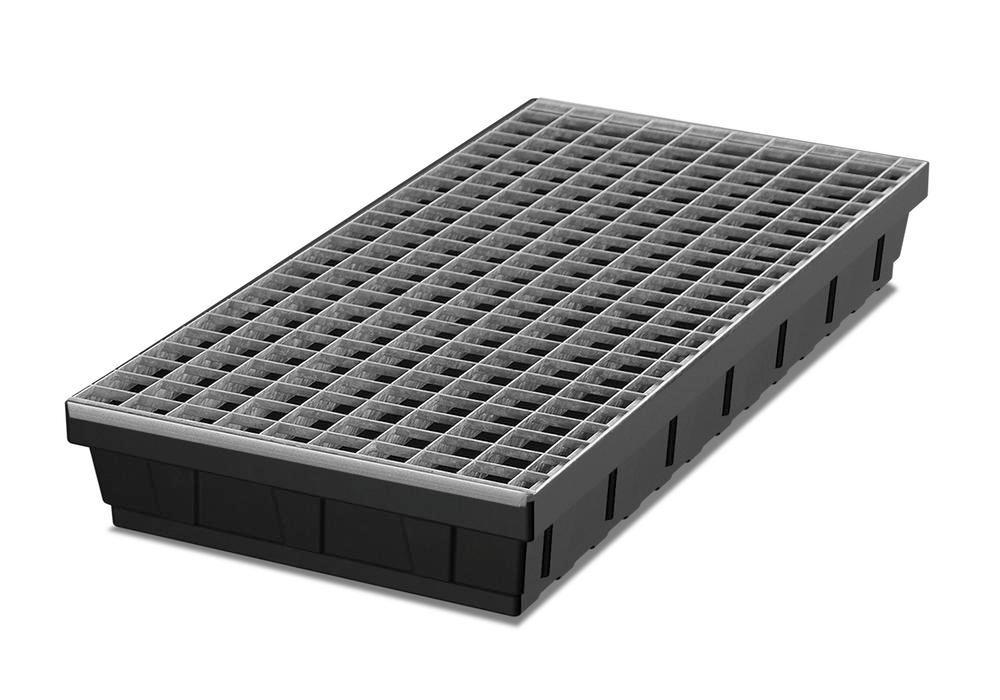 Spill tray for small containers base-line in polyethylene (PE) with galvanised grid, 32 litres