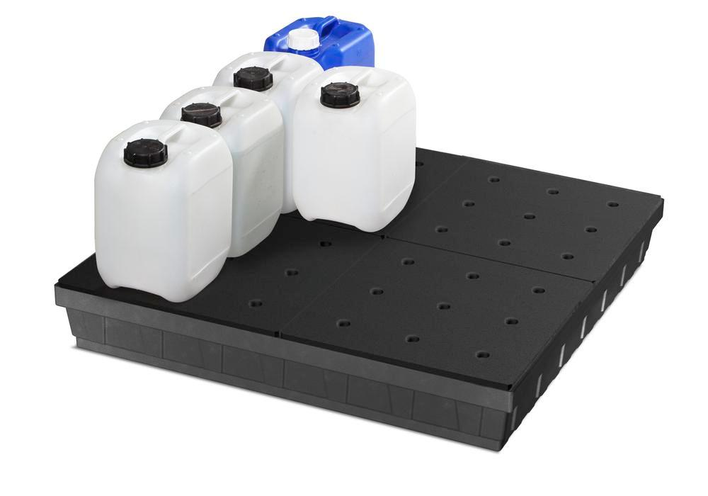 Spill tray for small containers base-line in polyethylene (PE) with PE grid, 68 litres - 2