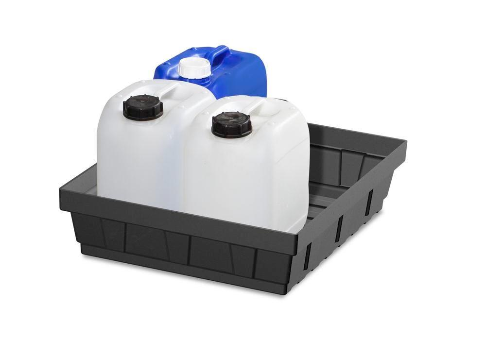 Spill tray for small containers base-line in polyethylene (PE) without grid, 15 litres