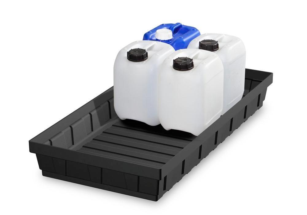 Spill tray for small containers base-line in polyethylene (PE) without grid, 32 litres