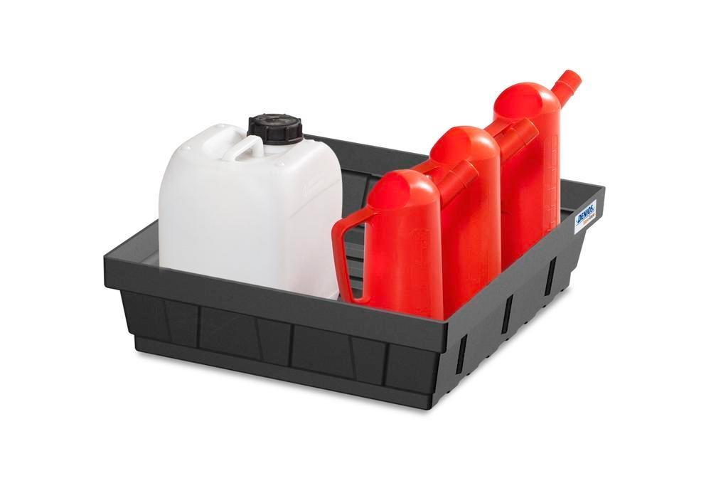 Spill tray for small containers EURO-P 15, in PE, containment volume 15 litres