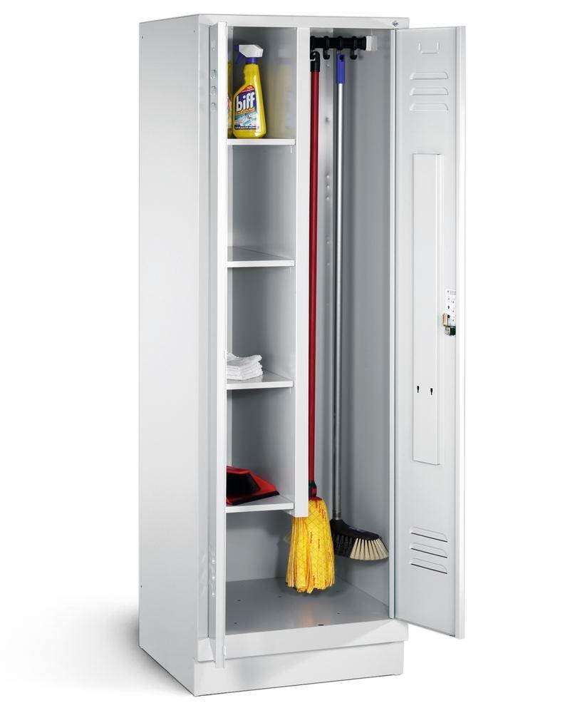 Cleaning cabinet Cabo 4 shelves and sliding hooks, W 610, D 500, H 1800 mm, base, grey