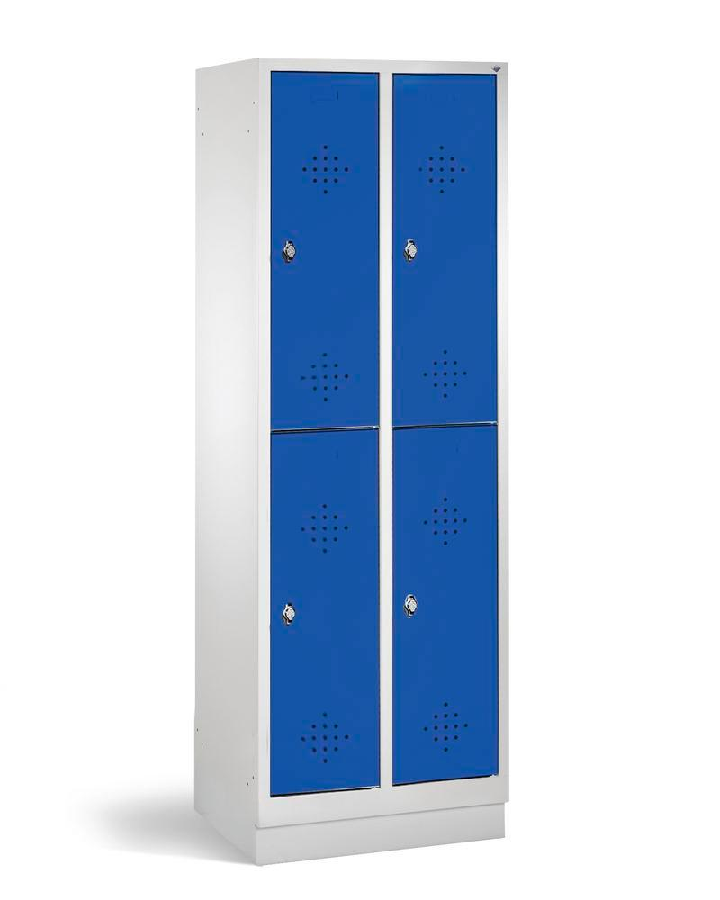 Double locker Cabo, 4 compartments, W 610, D 500, H 1800 mm, base, doors in blue