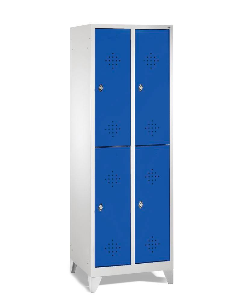 Double locker Cabo, 4 compartments, W 610, D 500, H 1850 mm, feet, doors in blue