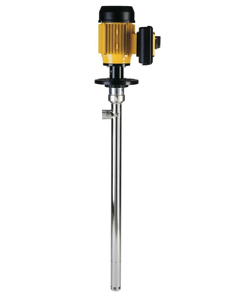 Eccentric screw drum pump in st. steel for viscous food use, EU/FDA approval, 1000mm immersion depth